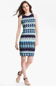Karen Kane Reflection Dress | Nordstrom #blue #ikat #scubadress #spring #ethnic #lime