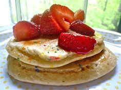 Easy birthday pancakes! Made with cake mix and sprinkles :)
