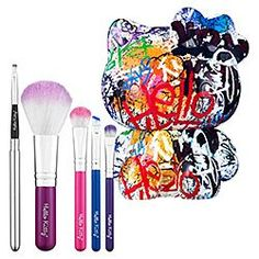 HELLO KITTY GRAFFITI 5 PIECE BRUSH SET LIMITED EDITION by Hello Kitty. $79.95. LIMITED EDITION. HELLO KITTY. Hello Kitty shows off her street style with this graffiti-inspired brush set. The striking visual language of street art always gives her a little surprise and a big smile. This set pays tribute to the daring artists who decorate Hello Kitty's favorite downtown sidewalks.   Each brush features synthetic bristles. The Collectible Hello Kitty brush container is reusa...