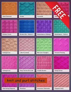 Over 50 patterns are only produced with knitting and tab stitches (update . , Over 50 patterns are only produced with knitting and tab stitches (update . Knit Purl Stitches, Knitting Stiches, Knitting Charts, Easy Knitting, Knitting Patterns Free, Knit Patterns, Knitted Squares Pattern, Knit Stitches For Beginners, Knitted Dishcloth Patterns Free