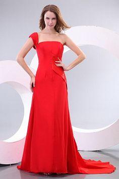 Robe Rouge Drapée En Mousseline De Soie Retour rs2443 - Tissu: Mousseline De Soie; Décolleté: Une Épaule; Silhouette: Une Ligne-; Fermeture: Fermeture À Glissière - Price: 178.9900 - Link: http://www.robesoirees.com/robe-rouge-drapee-en-mousseline-de-soie