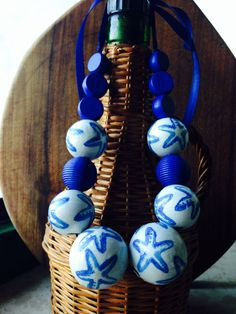 Paper napkin wooden bead necklace  :)