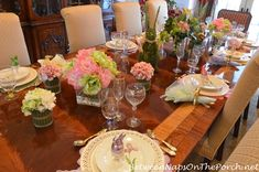 Spring Tablescape with Pierced Chargers and Pierced Egg Cups
