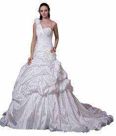 GEORGE BRIDE Luxurious One Shoulder Chapel Train Wedding Gown