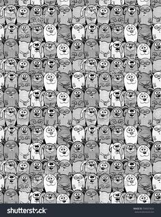 Cats and dogs, kittens and puppies seamless design. Pets endless pattern