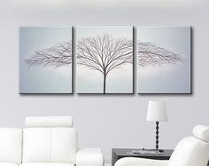Large Wall Art Canvas Art Painting Tree of Life Art Wall decor Home decor Original Painting Gray Paintings Blue 48x20 Original Painting