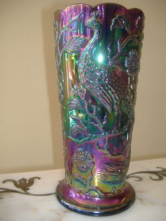 Fenton Amethyst Peacock and Garden Carnival Glass vase