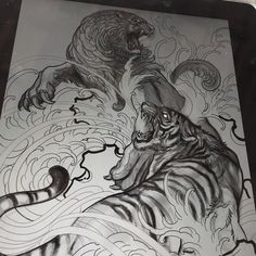 "195 Likes, 2 Comments - Elvin Yong (@elvintattoo) on Instagram: ""Tiger Vs foo dog sketch"""