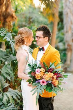 Intimate San Diego Courthouse elopement, featuring a stylish groom in a yellow mustard suit jacket! Colorful wedding photography in Balboa Park, California. Cascading Wedding Bouquets, Summer Wedding Bouquets, Flower Bouquet Wedding, Yellow Wedding, Floral Wedding, Wedding Colors, Groom And Groomsmen Style, Groom Style, Whimsical Wedding Theme