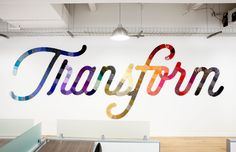 Hundreds of vintage ties adhered to 30' lettering in the offices of Linkedin. A collaboration with Rapt Studio.