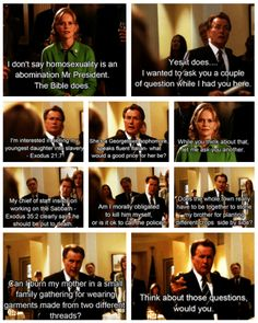 This exchange gave me chills when I 1st saw it and still does.  The West Wing was and still is a brilliant show that took on real issues and caused all to think!