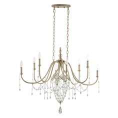 kal notes:  oval, stunning, simple, elegant, price is right.  Current fave for over dining table.  <p> Collana Oval Chandelier features hand finished silver leaf with polished crystal and fine chainlink. Eight 60-watt, 120 volt B10 candelabra base incandescent bulbs are required, but not included. Dimensions: 35.75W x 30.5H x 20.5D.</p>