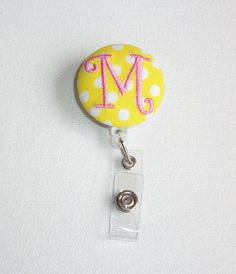 Retractable ID Badge Holder Reel  - Fabric Button - custom yellow with white polka dots with monogram