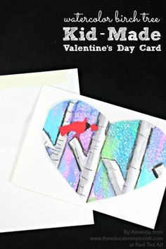 valentines day cards using water color to create birch tree heart card