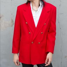 Red Wool Gold Button Blazer Plus Size Theater Suit Red Blazer Jacket with gold buttons. 100% Pure New Wool. Brand is #Dumas (made in USA). Not sure on size but seems like a plus size. The color and buttons make it look a bit theatrical so it would make a great costume piece.    #Red #Blazer #Wool #jacket #costume #gold #circus #vintage Dumas Jackets & Coats Blazers