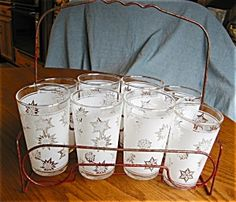 Vintage Federal Glass Co. set with antique red ... | Retro Glassware