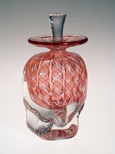 Peach Zanfirico art glass perfume bottle by Mary Mullaney and Ralph Mossman