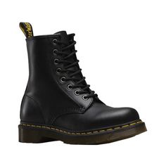 Women's Dr. Martens 1460 8-Eye Boot W ($135) ❤ liked on Polyvore featuring shoes, boots, shoes - boots, doc martens, black, casual, casual shoes, work boots, lace-up boots and black work boots