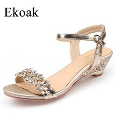 Ekoak New 2017 Summer Fashion Women Sandals Sexy Crystal Bling Medium Heels Shoes Woman Wedges Sandals Party Dress Shoes Bride Shoes, Wedding Shoes, Women's Shoes, Golf Shoes, Buy Shoes, Medium Heel Shoes, Bling Heels, Mode Abaya, Silver Shoes