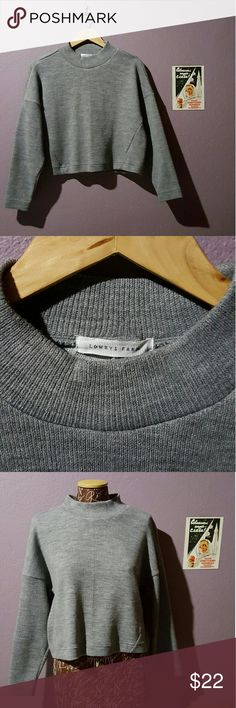 Cropped heather gray sweater from Tokyo Picked up last fall in Tokyo and only wore a couple times. Perfect for layering! Love the oversized fit and mock turtleneck. Size M on tag but fits a S too if worn oversized. Lowry's Farm Tops Sweatshirts & Hoodies