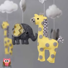 I could make this for baby!  Elephant Mobile Giraffe Mobile Custom Mobile by TayloredWhimsy
