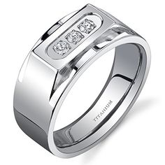 Bold Mens Titanium 3 Stone 10 mm Ring Size 13 -- Be sure to check out this awesome product.