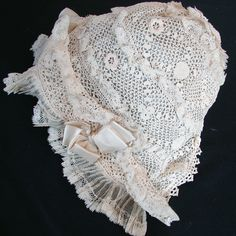 Maria Niforos - Fine Antique Lace, Linens & Textiles : Antique Christening Gowns & Children's Items # CI-91 Circa 1900, Irish Crochet Bonnet w/ Silk Ribbons