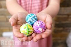 DIY Bouncy Balls - Use up all those left over rainbow loom bands