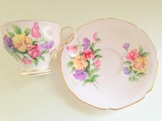 Sweet Pea Paragon Tea Cup and Saucer Hand by AprilsLuxuries