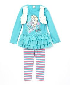 Look at this #zulilyfind! Blue Frozen Ruffle Top & Stripe Leggings - Girls by Frozen #zulilyfinds