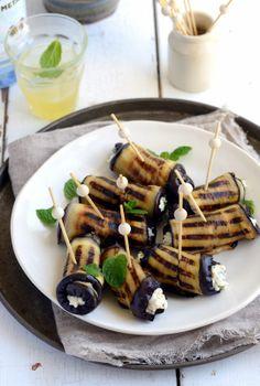 Eggplant roll ups stuffed with ricotta, cumin, mint and lemon