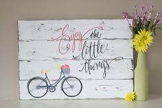 Reclaimed wood wall art Enjoy the little things di TinHatDesigns