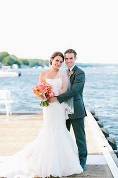 #EnzoaniRealBride Shanna looking stunning in our Enzoani Dakota gown! | A Coral and Navy Nautical Wedding at Lake Hopatcong Yacht Club in Lake Hopatcong, New Jersey