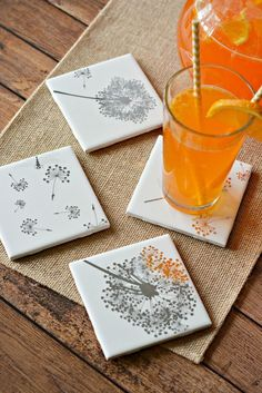 Easy DIY Tile Coasters Craft Girls Night In Gift, How to Make Coasters with Tiles, How to Design Transfer onto Tiles, House Warming Gift Ideas, Gift Ideas, Homemade Home Decor #HomemadeHomeDécor,