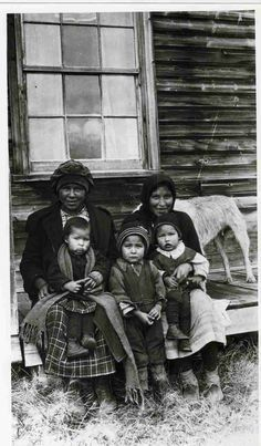 """Montagnais Family"" - 5 people and a dog - No names - ca. 1910-1929"