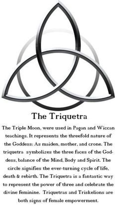 The Triquetra: The Triple Moon is used in Pagan and Wiccan teachings. It represents the threefold nature of the Goddess: As maiden, mother and crone. The Triquetra symbolizes the three faces of the Goddess, balance of the Mind, Body and Spirit. The circle Wiccan Spells, Witchcraft, Wiccan Symbols, Celtic Symbols And Meanings, Moon Symbols, Spiritual Symbols, Magic Spells, Celtic Protection Symbols, Welsh Symbols