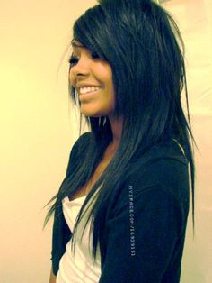 Long Hair Cut With Side Bangs & layers