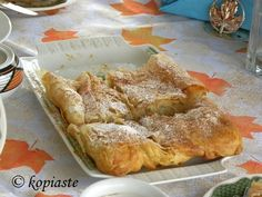 Bougatsa is a Greek pastry filled either with a semolina custard, cheese or minced meat. Mince Dishes, Dream Recipe, Greek Pastries, Greek Sweets, Pork Mince, Beef Steak, Vegan Baking, Greek Recipes, Street Food