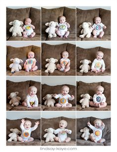 Monthly infant photos to show growth month-to-month. One month through one year http://lindsaykayeblog.com/one-whole-year/
