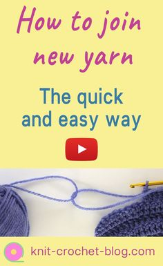 Quick way to join new yarn in crochet.or knitting. No need to weave in ends when you use this method. Works with most stitches in fine and average yarn weight. Crochet tutorial. Knitting tutorial. Crochet instructions. Learn to crochet. Crochet techniques.