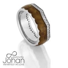Diamond Eternity Wedding Band, Platinum Crown Ring With Teak Wood-DJ1014