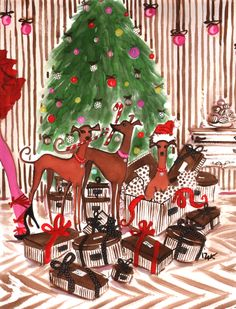 Great Doggie Holiday Illustration