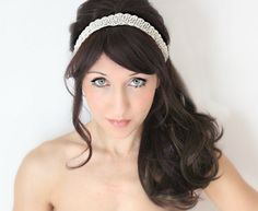 Bridal Headband Rhinestone Whimsical Romance Bridal by DeLoop, Theresa Joy