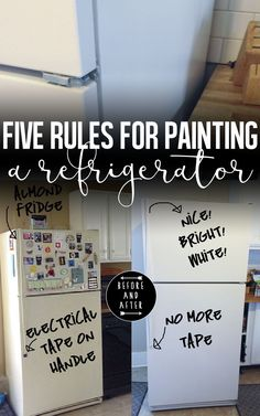 Five Rules for Painting your Fridge is part of diy-home-decor - and Yes, You Can Paint a Refrigerator! Refrigerator Makeover, Paint Refrigerator, Painted Fridge, Refrigerator Decoration, Chalkboard Paint Fridge, Fridge Decor, Painting Appliances, Painting Cabinets, Furniture Makeover