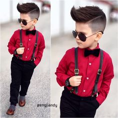 Men& suit pants + shirt + strap + bowtie years old Toddler Dress Clothes, Stylish Baby Clothes, Baby Clothes Online, Stylish Kids, Toddler Boy Fashion, Little Boy Fashion, Toddler Boy Outfits, Toddler Wedding Outfit Boy, Outfits Niños