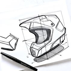 "Motorcross helmet build up. Sometimes, I'll hit a topic or product I've never sketched around before. Usually, I can visualize the proportions and knock it out. Other times I can't. When I can't ink on the fly, I lay down a cube and block my elements using the cube as a guide. If I was going to do several different versions of this helmet, I'd use this as my ""working underlay"" and sketch over it again and again. I'd probably switch over to digital at this point as well to make color blocking…"