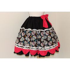 Day of the Dead Skirt Dia De Los Muertos Sugar Skulls Gothic Lolita... ($115) ❤ liked on Polyvore featuring grey, skirts and women's clothing