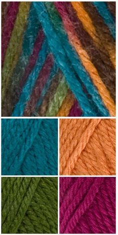Red Heart Soft – 9939 Jeweltone coordinates with 9518 Teal, 4422 Tangerine, 9523 Dark Leaf, and 9779 Berry