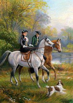 Victorian horses riders dog landscape Heywood Hardy original aceo painting art #Miniature