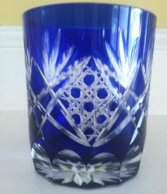 BEAUTIFUL VINTAGE GLASS BOHEMIAN COBALT BLUE CUT TO CLEAR TUMBLER 3 1/2""